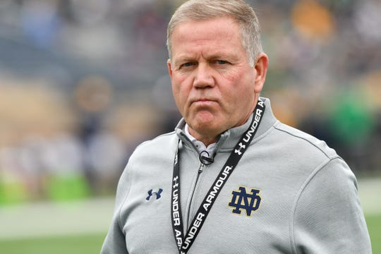 Coach Brian Kelly and Notre Dame play five games against ACC opponents most years.