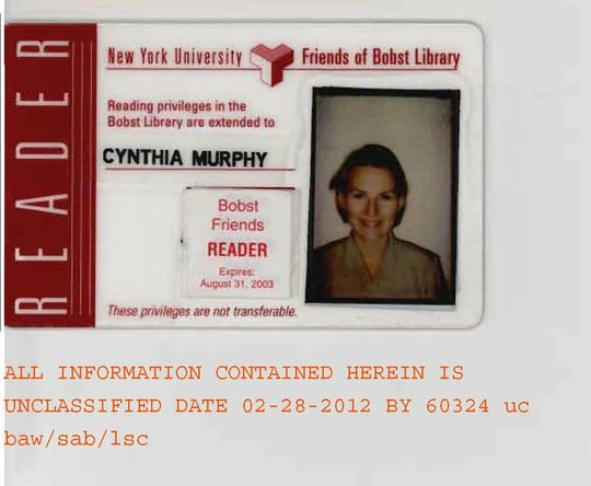"Russian spy Cynthia Murphy's New York University library card. Murphy, along with her husband Richard Murphy and 8 other Russian spies were expelled from the United States in 2010, the result of an FBI operation called ""Ghost Stories."""