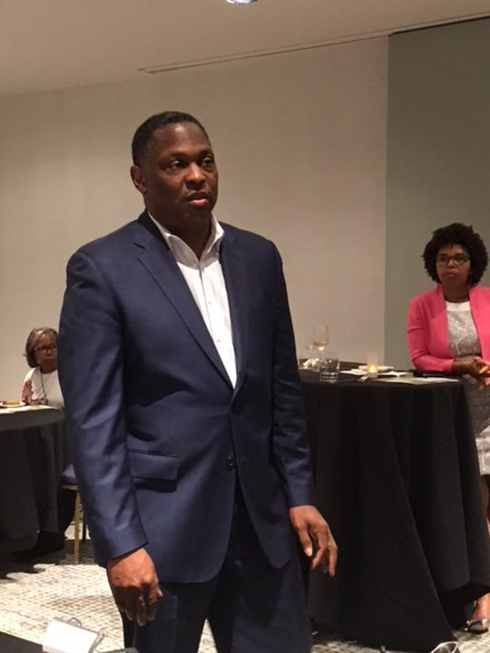 The Rev. Gregory Holston, executive director of POWER (Philadelphians Organized to Witness, Empower and Rebuild), talked to reporters at the National Association of Black Journalists in July 2018 in Detroit about get-out-the-vote efforts underway.