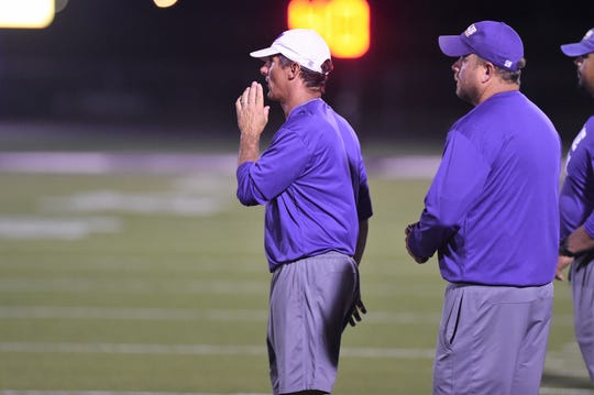 Clay Martin, then Wylie's defensive coordinator, calls out a play from the sideline during the 2018 scrimmage against Odessa High. Martin was named the new head coach and athletic director on Jan. 31, and will be able to begin summer workouts on June 8 after school activities were put on hold due to the coronavirus pandemic in early March.