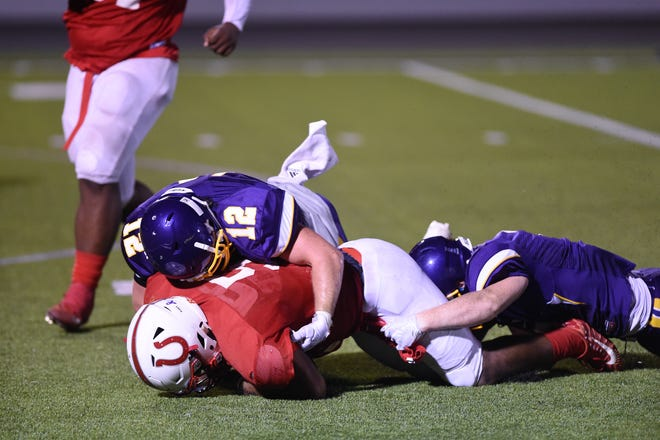 Jackson Smith (12) returns to lead the Wylie defense in 2019. The linebackers will be a big part of the Bulldogs this season with experienced veterans at every position in the middle of the defense.