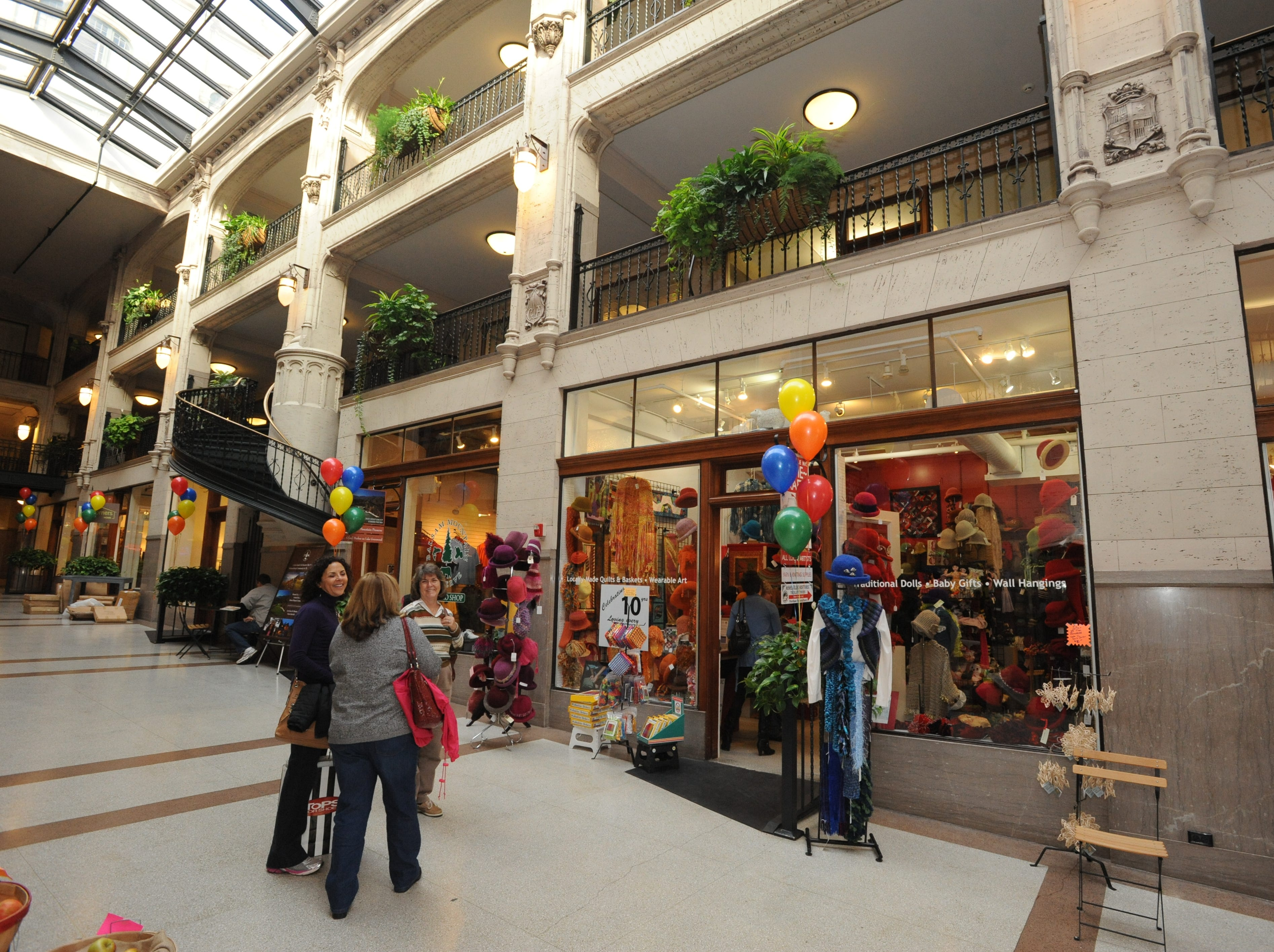The interior of the Grove Arcade includes shops and restaurants. In 2012, it marked its 10th anniversary of renovation.