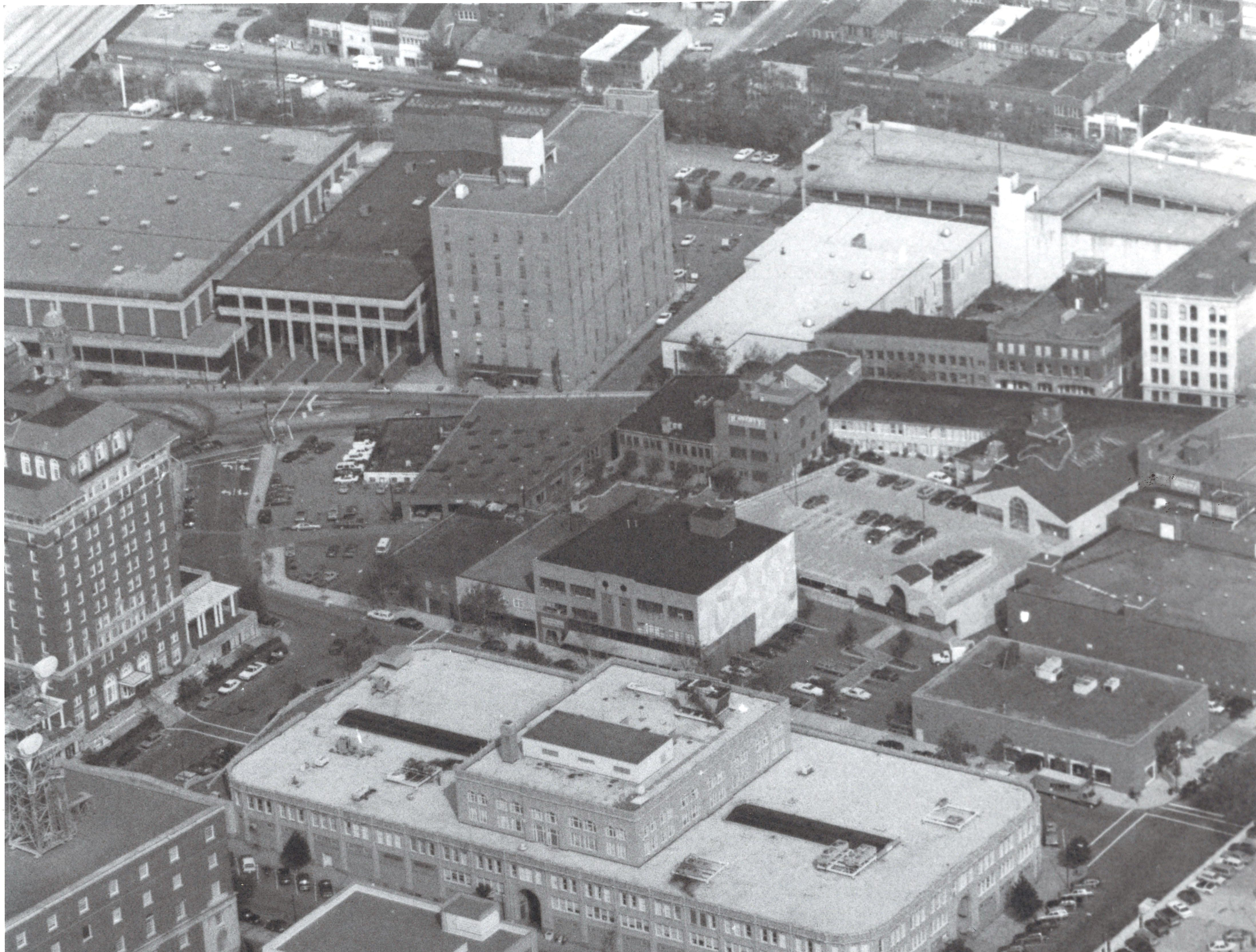 An aerial shot of the Grove Arcade building, center, in 1991, looking toward the east.