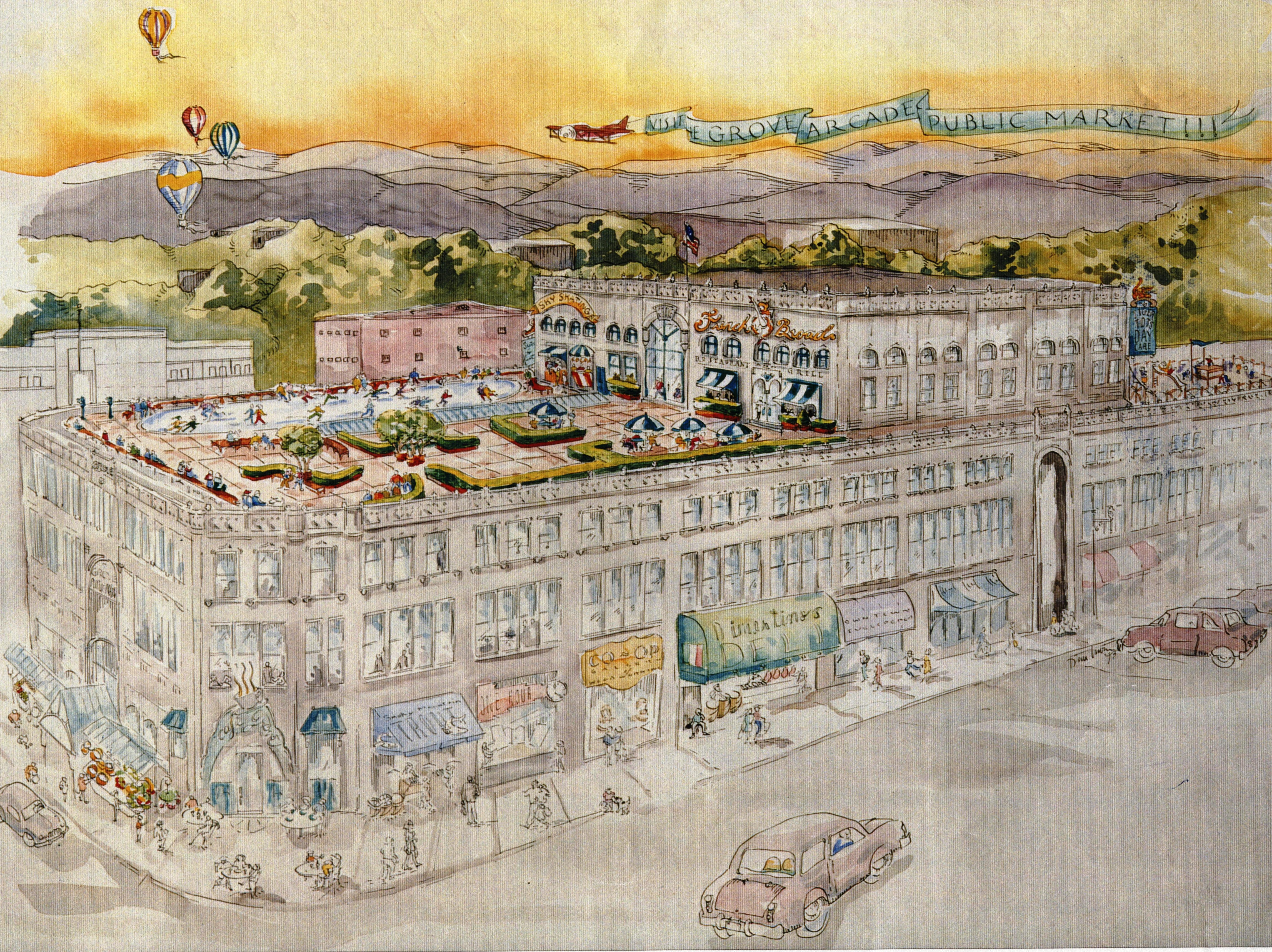 This rendering by Dana Irwin from 1995 shows what the Grove Arcade could look like after redevelopment into a public market and office building.