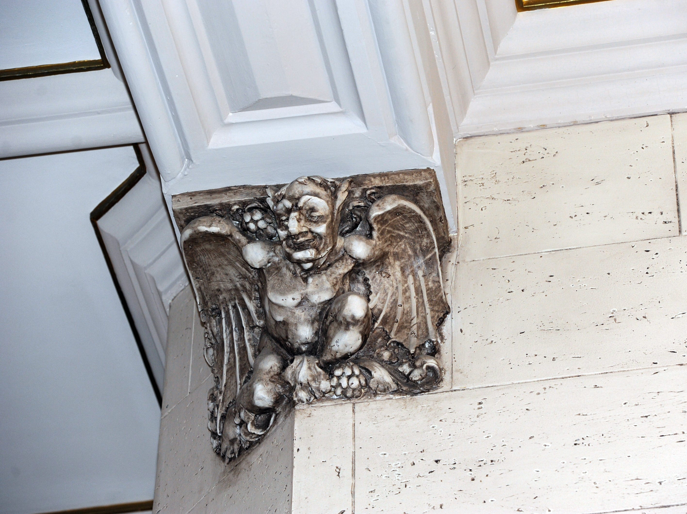 There are 88 gargoyle heads on the exterior of the building, according to its online history, and more similar decorative elements inside.