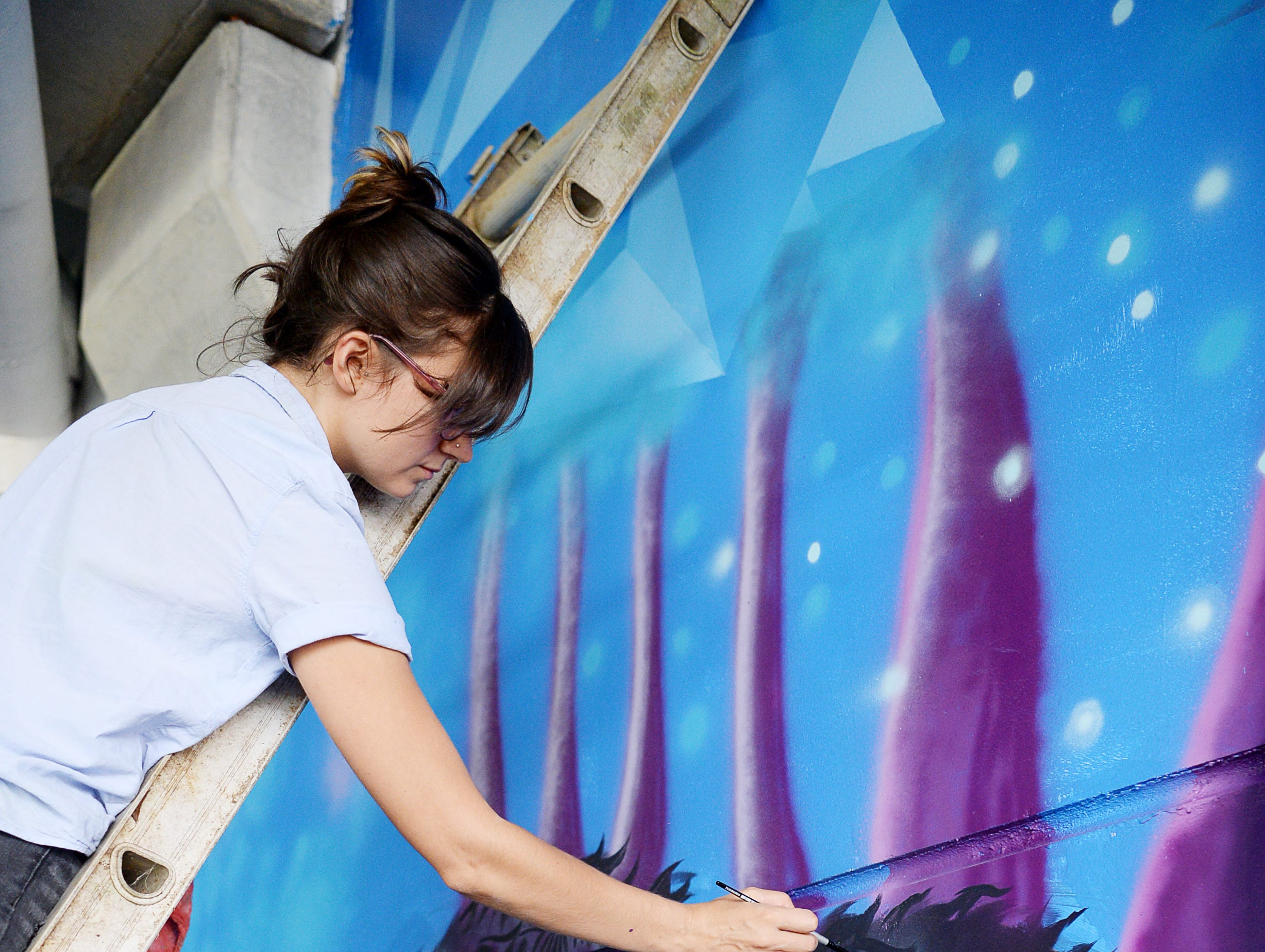 Jen Toledo paints a bear on the wall as she and 17 other artists added color to the walls of Mission Hospital's cancer center parking garage in a project called the Cancer Fighting Mural Consortium August 25, 2018.
