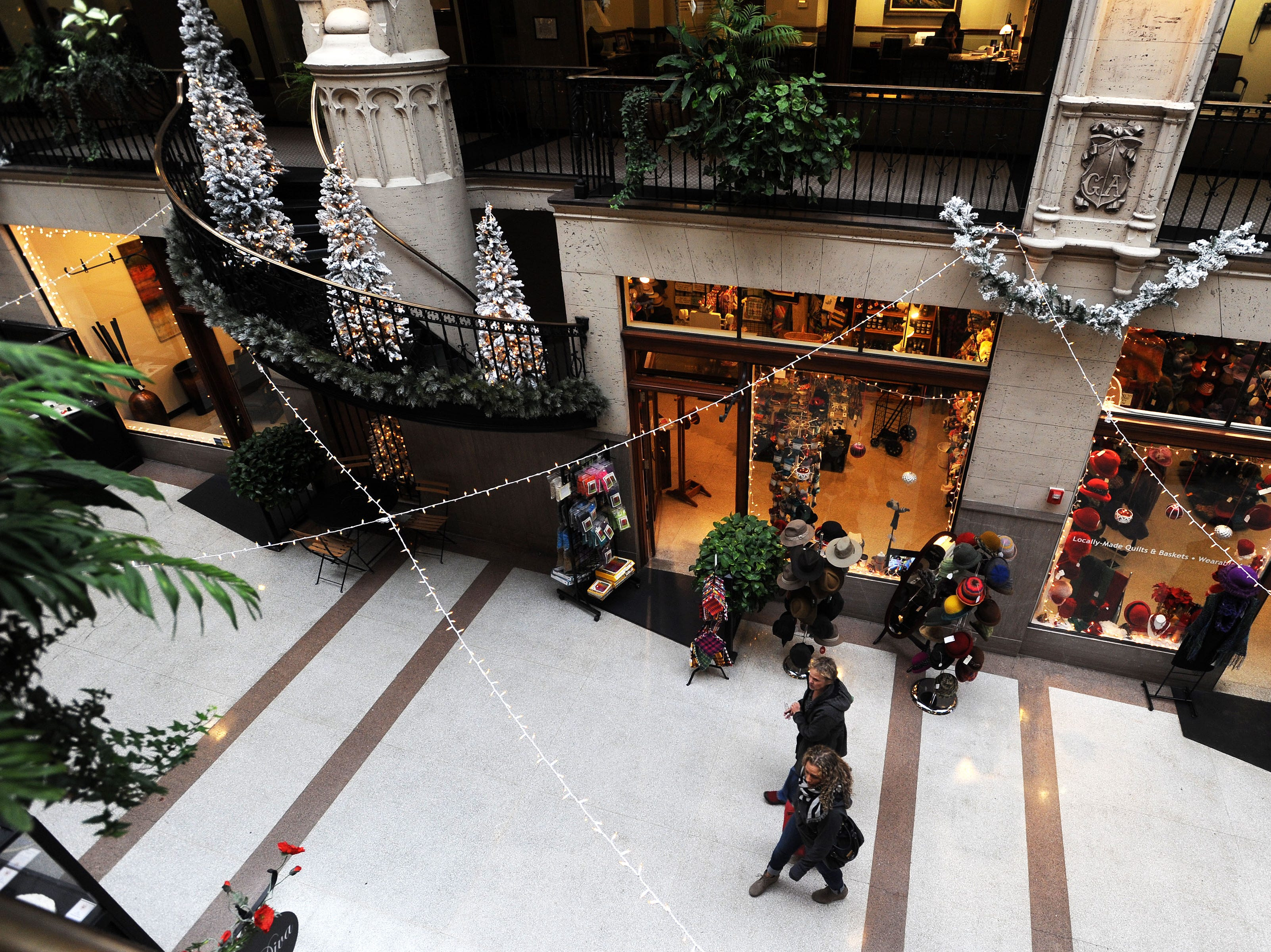 The Grove Arcade attracts a crowd of tourists during the holiday season.