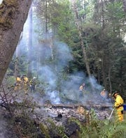 Crews work to put out one of a series of brush fires in the Illahee Preserve Friday.