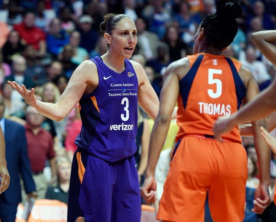 Diana Taurasi (3) and her Phoenix teammates earned a playoff matchup with the Storm by winning two single-elimination games in the opening rounds.