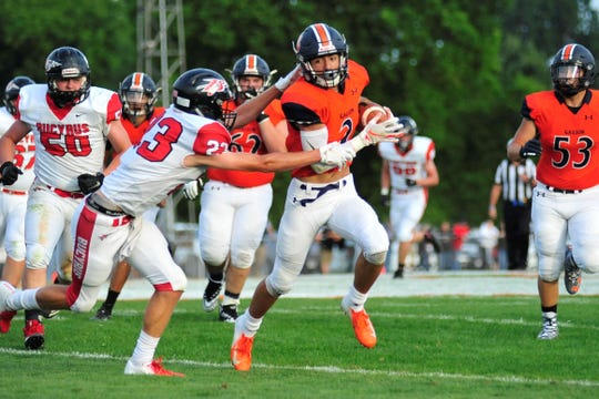 Galion's Isaiah Alsip rushes during Friday's home win against Bucyrus.