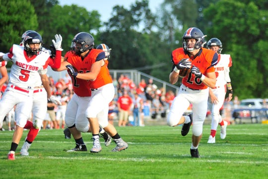 Galion's Colbey Fox carries the ball Friday in the team's home win against Bucyrus.