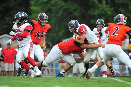 Bucyrus' Hastin Zier rushes during the team's road loss Friday in Galion.