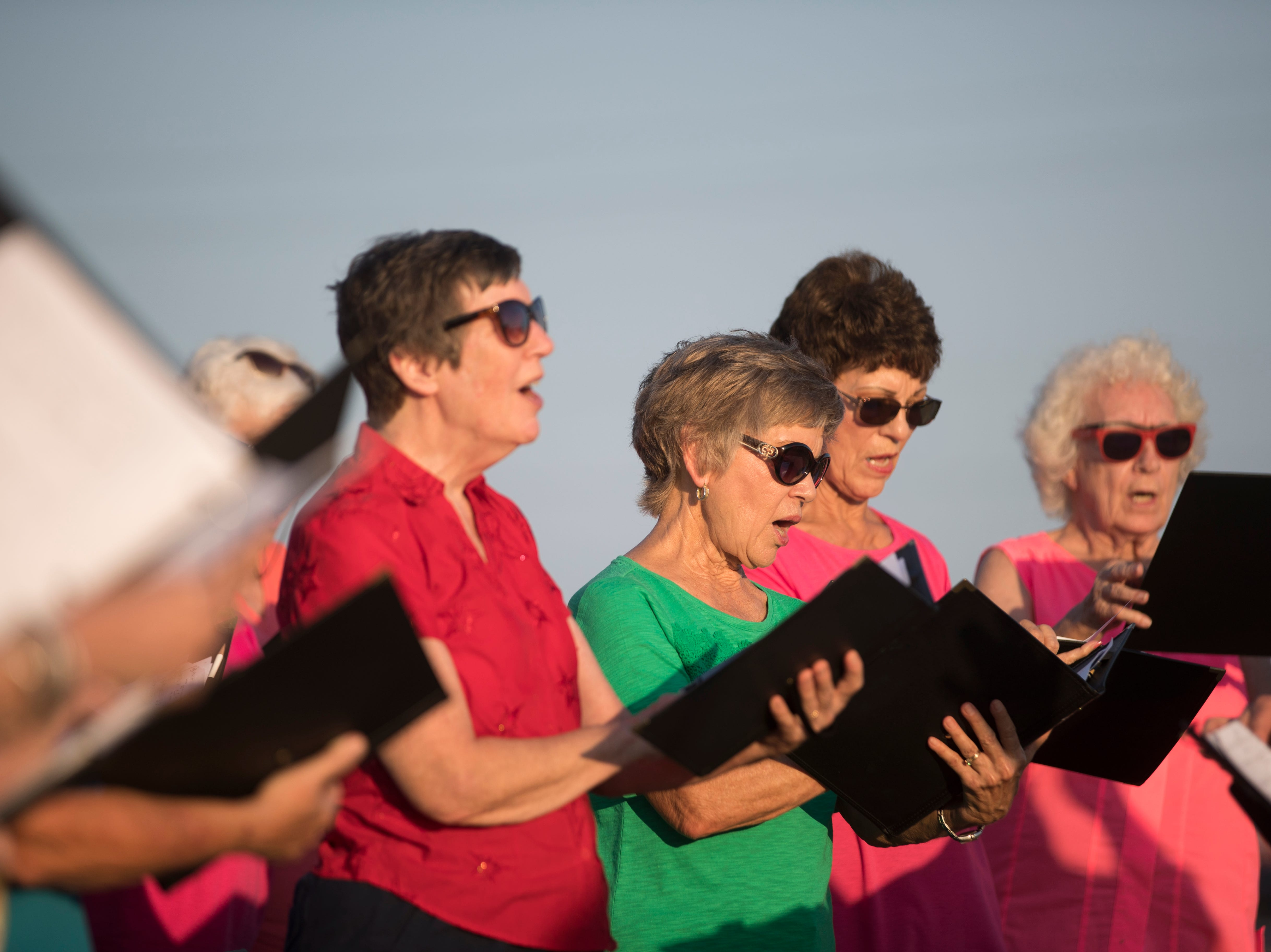 Members of Rockport's Unity Choir sing during a remembrance ceremony for the anniversary of Hurricane Harvey on Friday, Aug. 24, 2018 in Rockport.