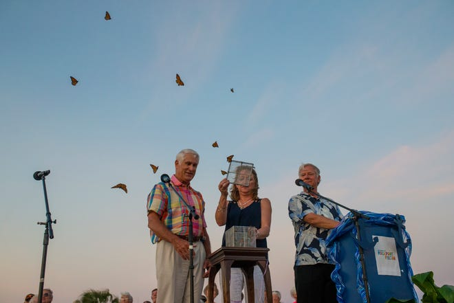 Butterflies are released during a remembrance ceremony for the anniversary of Hurricane Harvey on Friday, Aug. 24, 2018 in Rockport.