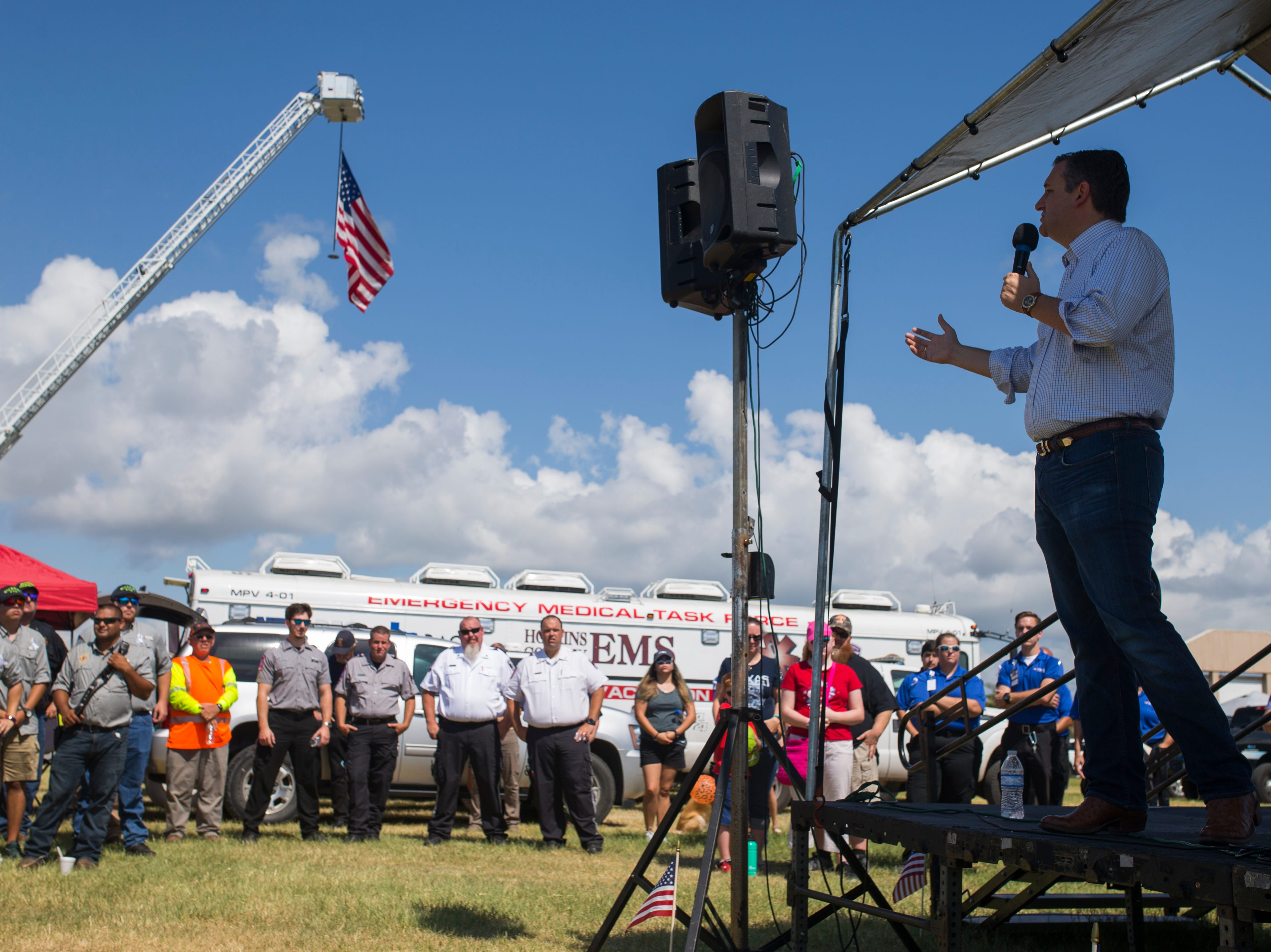U.S. Sen. Ted Cruz speaks to members of Aransas County during a remembrance ceremony for the anniversary of Hurricane Harvey and to honor first responders on Saturday, Aug. 25, 2018 in Rockport.