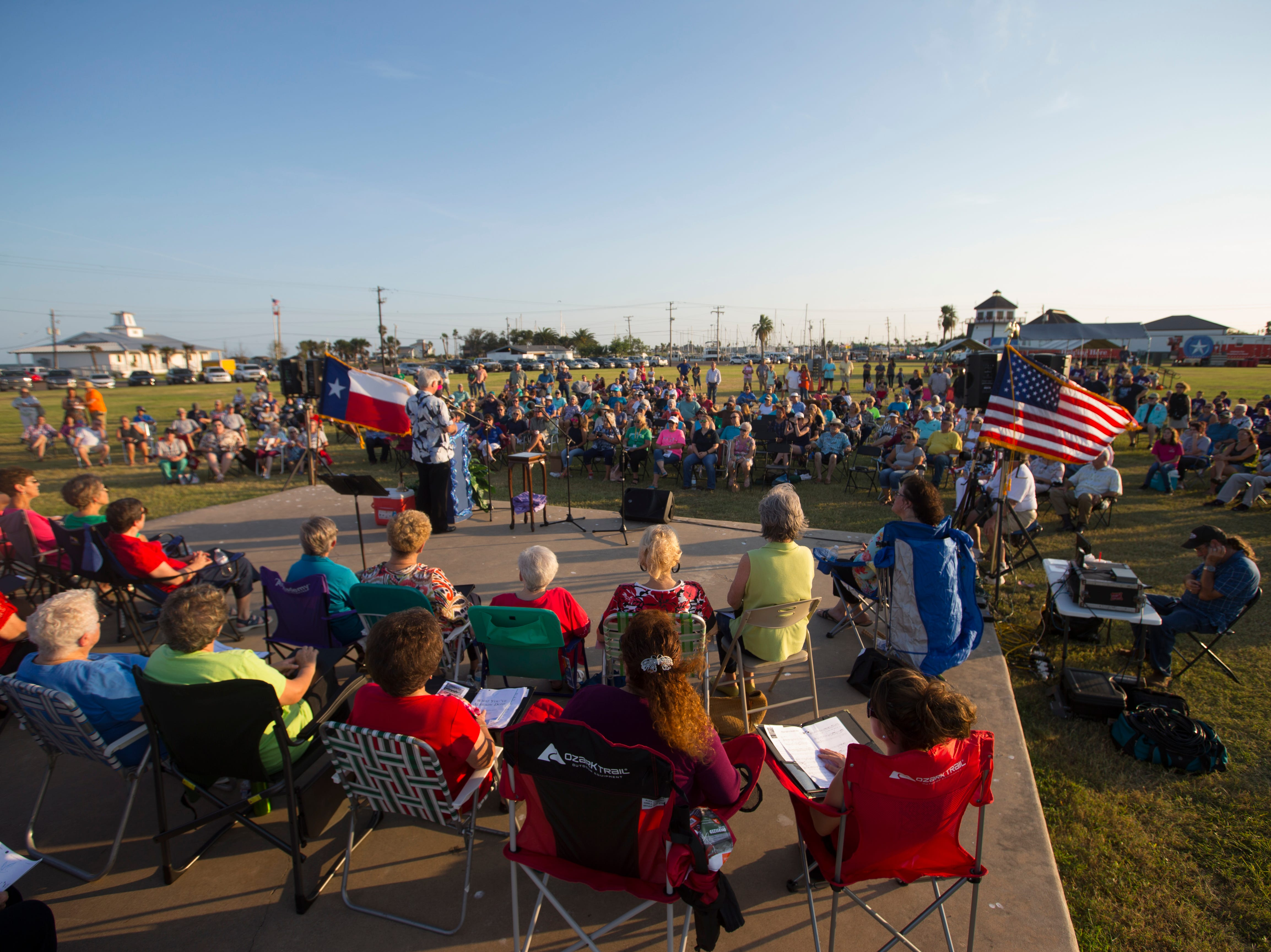 Members of the Rockport community gather for a remembrance ceremony for the anniversary of Hurricane Harvey on Friday, Aug. 24, 2018 in Rockport.
