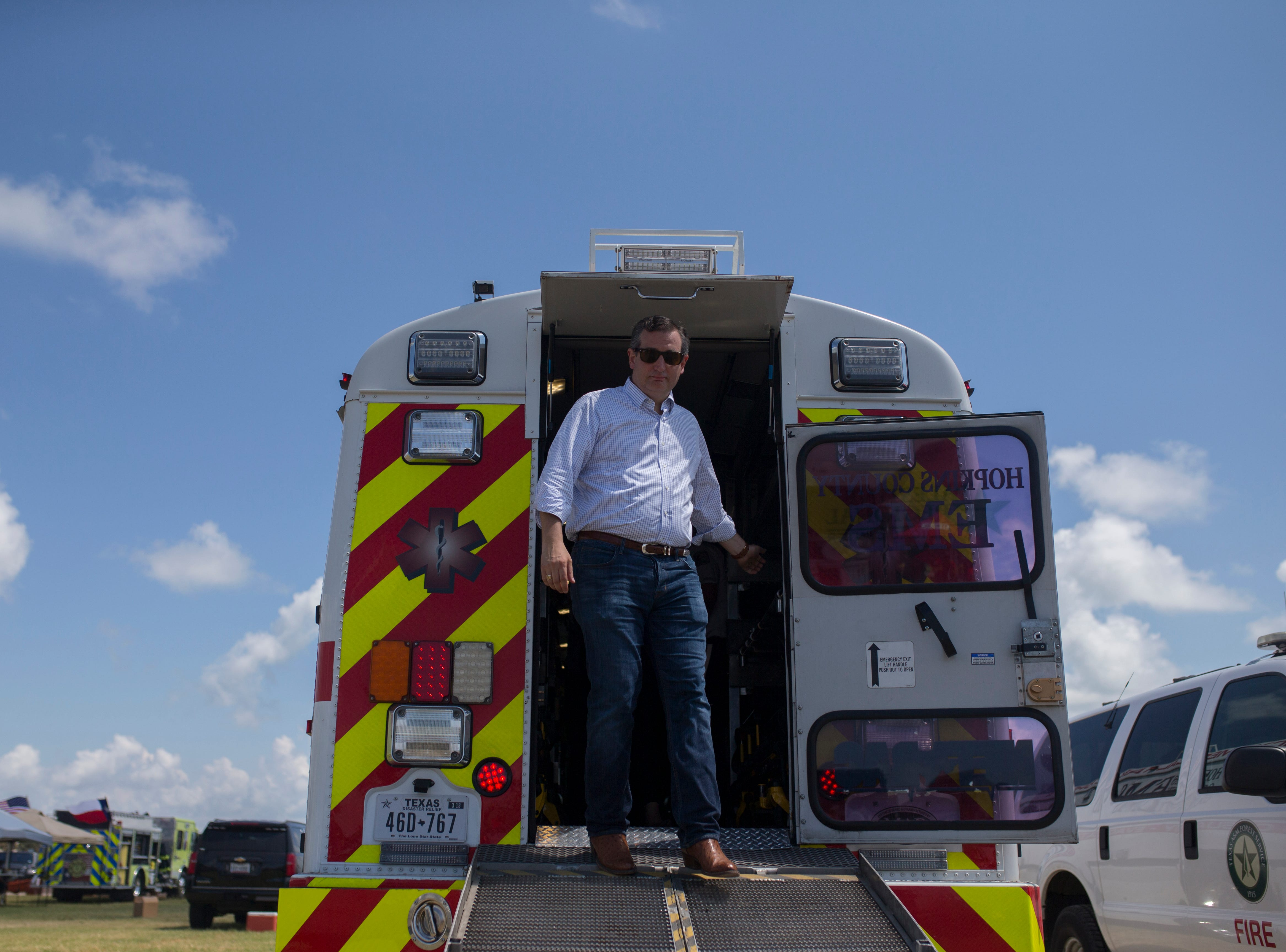 U.S. Sen. Ted Cruz tours a bus during a remembrance ceremony for the anniversary of Hurricane Harvey and to honor first responders on Saturday, Aug. 25, 2018 in Rockport.
