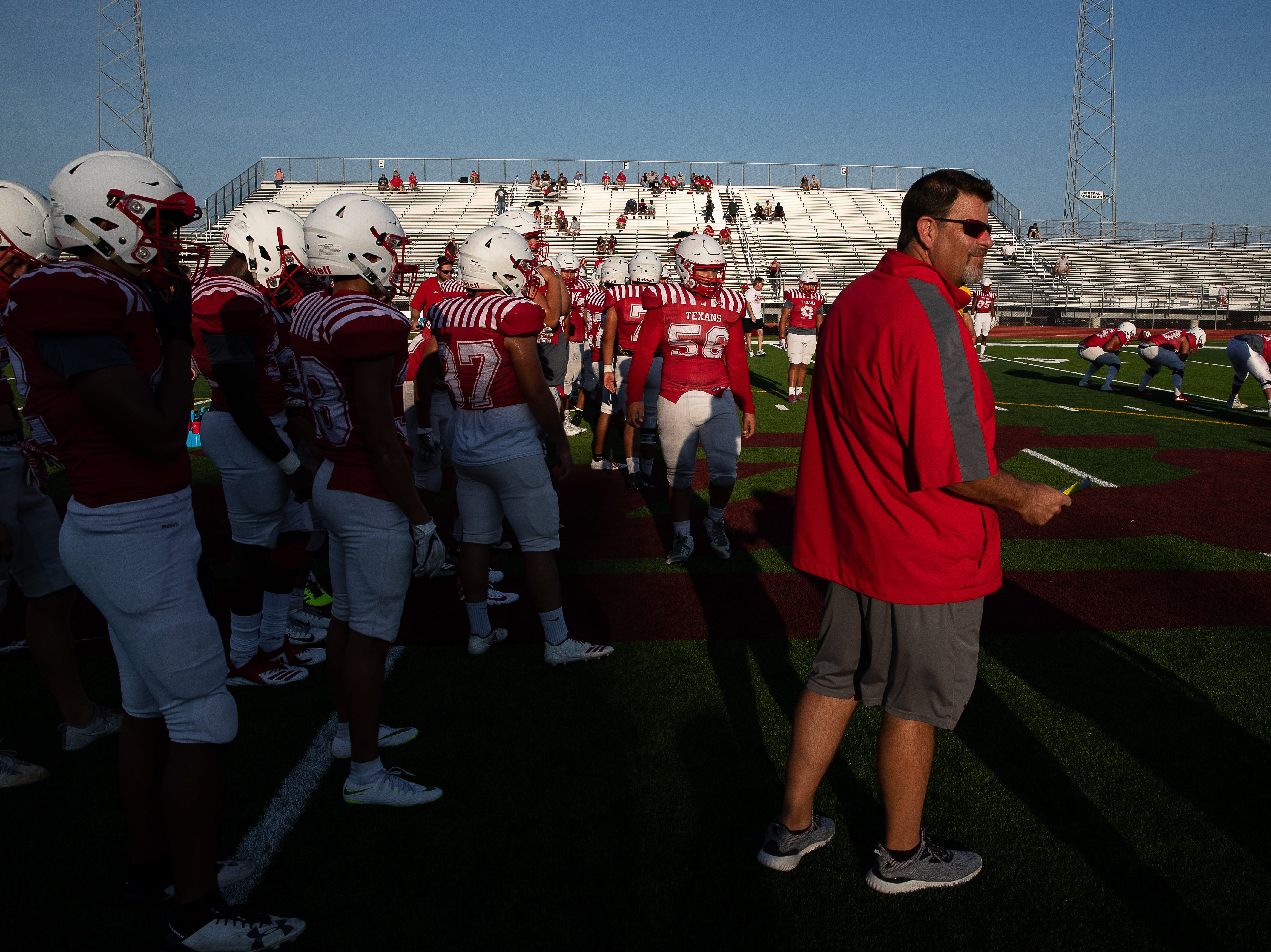 Ray head coach Craig Charlton  before their scrimmage against Calallen at Wildcat Stadium on Friday, Aug, 24, 2018.