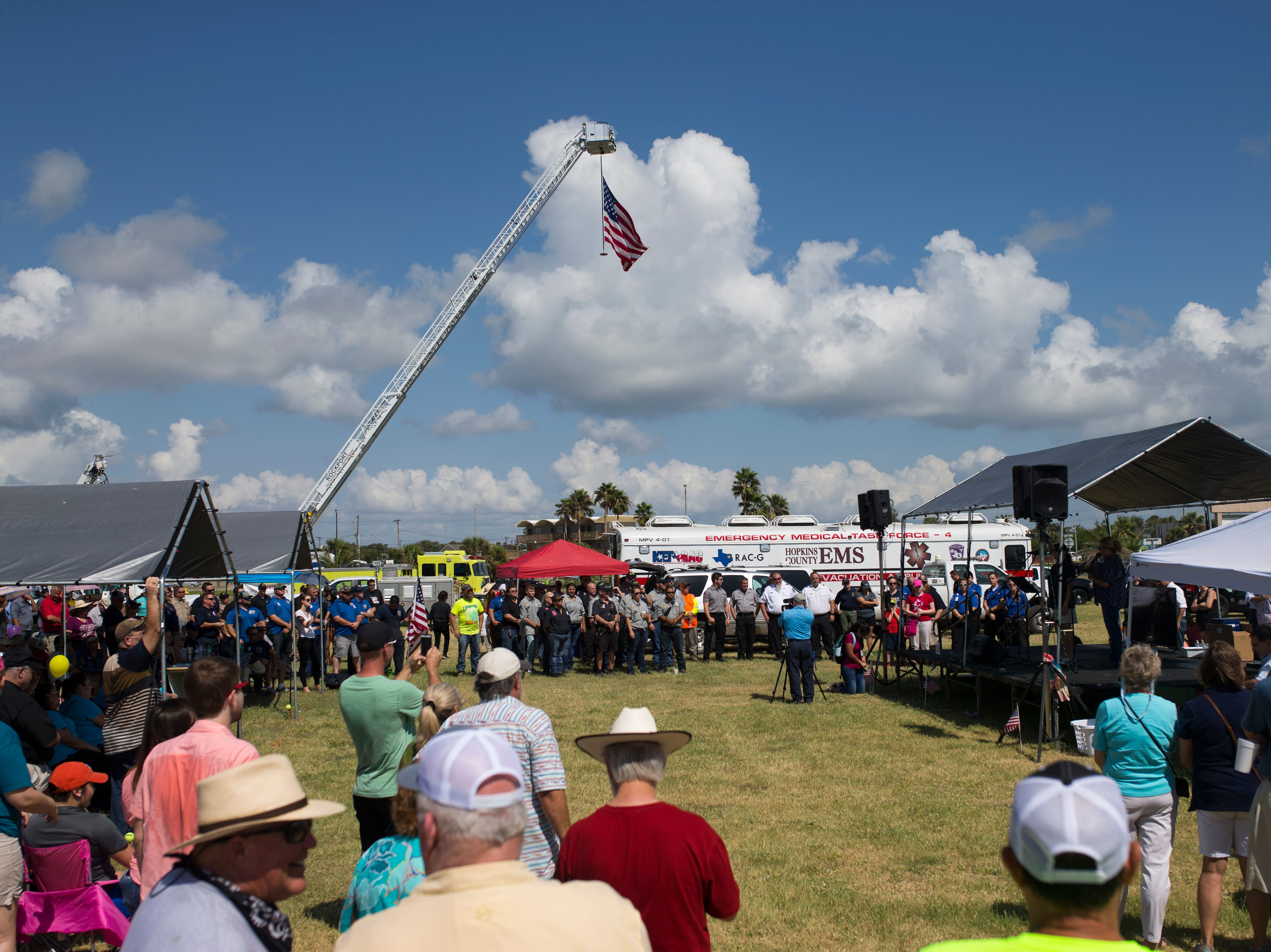 The Aransas County community gathered for a  remembrance ceremony to honor first responders for the anniversary of Hurricane Harvey on Saturday, Aug. 25, 2018 in Rockport.