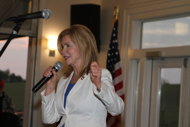 U.S. Rep. Marsha Blackburn speaks at a campaign fundraiser Friday evening at The Ruby Cora Event Venue in Adams, Tennessee.