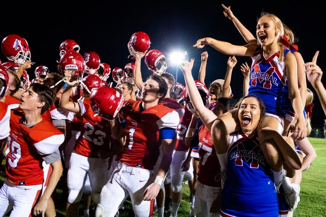Montgomery Central players and fans celebrate after beating Kenwood 10-7 on Aug. 24.