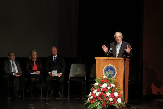 Former United States senator Tom Harkin shares memories about his friend, former congressman Leonard Boswell, during a memorial service at Graceland University in Lamoni on Saturday, Aug. 24, 2018.