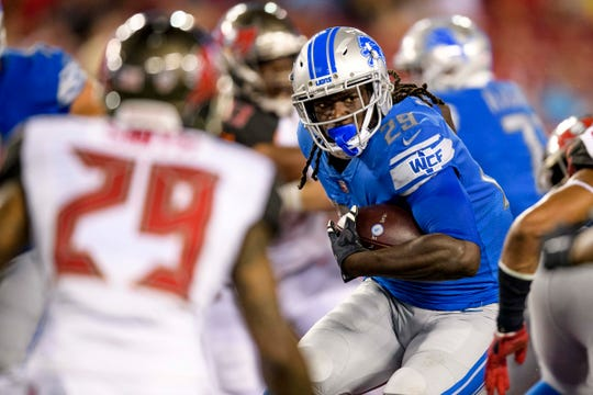 Aug. 24, 2018 in Tampa, Fla.: Detroit Lions running back LeGarrette Blount runs the ball during the first half against the Tampa Bay Buccaneers at Raymond James Stadium.