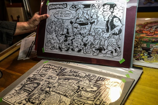 Artist Jimmie Thompson displays one of his FernTales comics he draws for the local publication Ferndale Friends, in his basement studio of his Ferndale home on Friday, June 22, 2018.