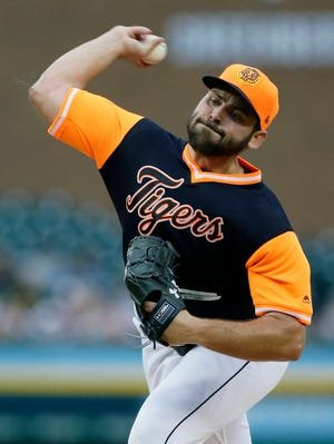 Detroit Tigers' Michael Fulmer pitches against the Chicago White Sox during the second inning at Comerica Park on Aug. 24, 2018 in Detroit.