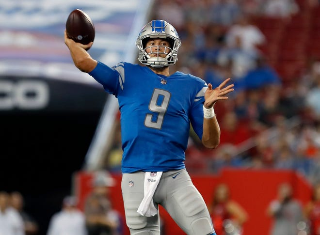 Detroit Lions quarterback Matthew Stafford throws a pass against the Tampa Bay Buccaneers during the first half Friday, Aug. 24, 2018, in Tampa, Fla.