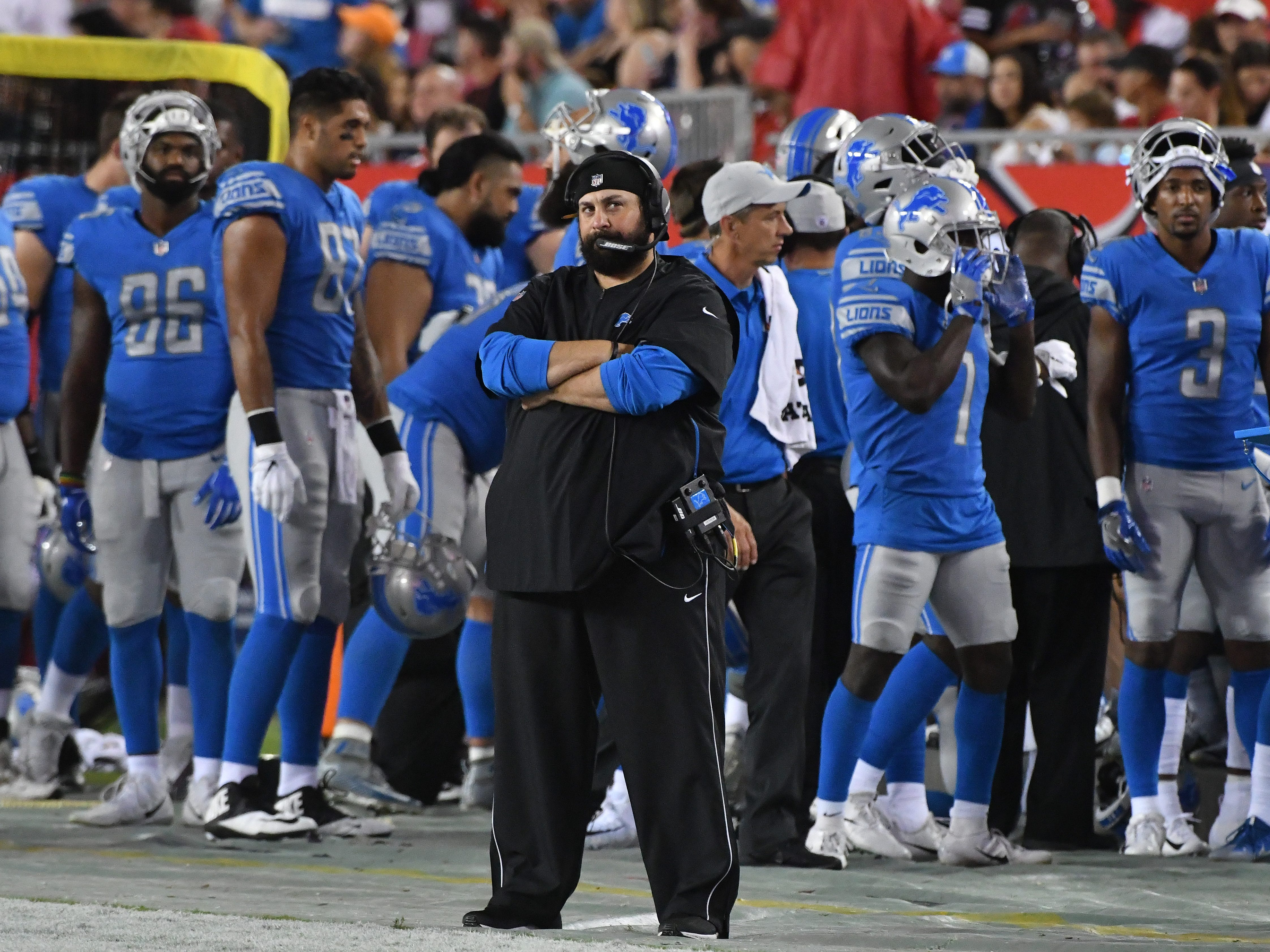Lions head coach Matt Patricia on the sidelines in the third quarter.