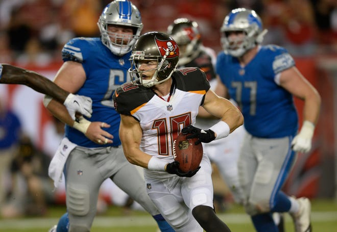 The Tampa Bay Buccaneers' Adam Humphries returns a missed field goal 109 yards for a touchdown against the Detroit Lions.