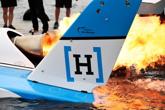 Jimmy Shane of HomeStreet team prepares take off for a test run on the Detroit River.