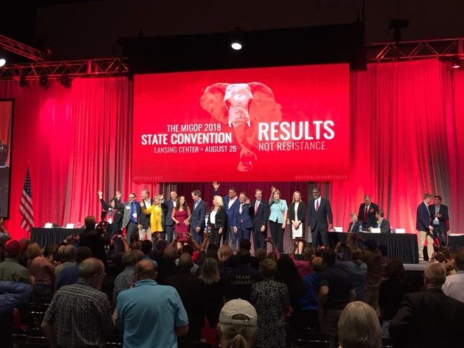 Michigan's 2018 Republican ticket takes the stage at the Lansing Center at the conclusion of the GOP convention.