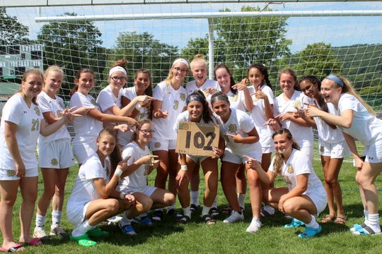Laurel Vargas scored four goals in an 11-0 win over Newfield on Aug. 25, 2018 to reach 102 for her career.