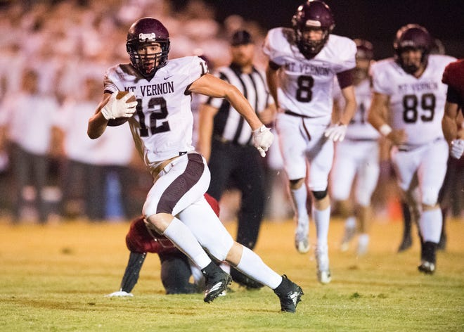 Mount Vernon's Sam Thomas, who scored a school-record eight TDs in a 64-49 win over North Posey Aug. 24, will play collegiately for Kentucky Wesleyan.
