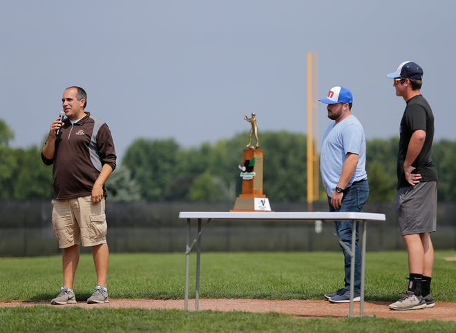 Dock Spiders general manager Ryan Moede address a crowd that was on hand to celebrate the Dock Spiders' Northwoods League title. Also with him is team manager Zac Chareboneau and pitcher Austin Wagner. Doug Raflik/USA TODAY NETWORK-Wisconsin