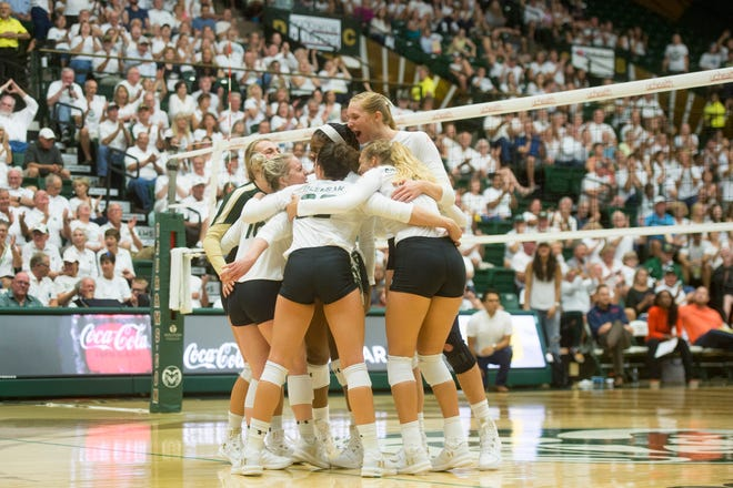 The CSU volleyball team, shown in a match earlier this season, went 2-1 in its home tournament on this weekend.