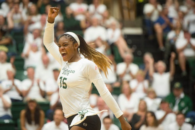 Breana Runnels of CSU celebrates after a play in the season opener against Illinois at Moby Arena on Friday, August 24, 2018.