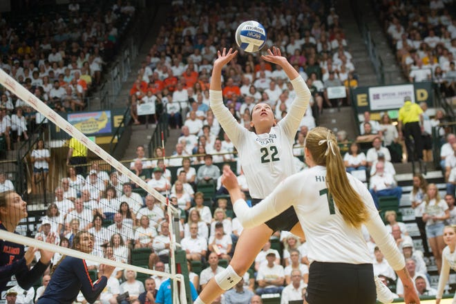 Setter Katie Oleksak and her CSU volleyball teammates play Mountain West matches on the road Thursday at Nevada and at home Saturday night against San Jose State.