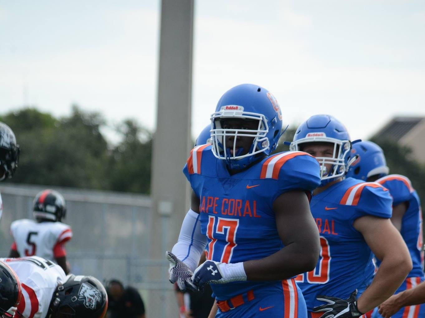 Cape Coral High's Tre'Shaun Clark looks toward the sidelines during the Seahawks' 26-25 win over South Fort Myers.