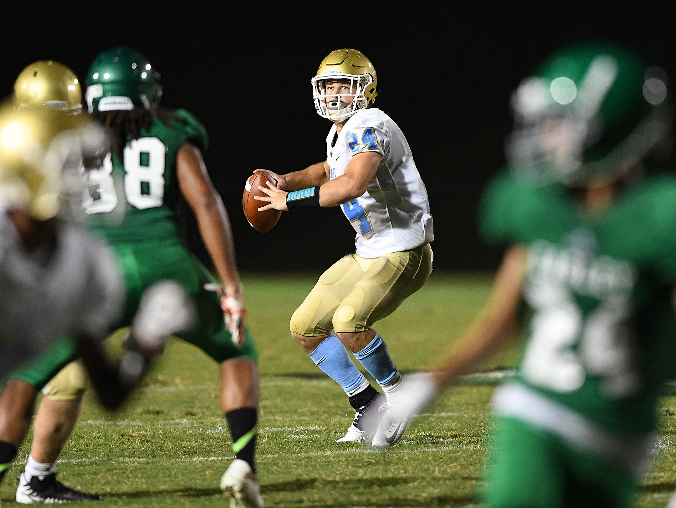 """Daniel quarterback Tyler Venables (24) plays against Easley Friday, August 24, 2018 at W.A. """"Bill"""" Carr Stadium in Easley."""