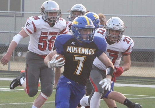 Riley Dickinson ran for more than 200 yards last week against Scobey and hopes to lead Great Falls Central to victory on Saturday when the Mustangs take on Fairview in the State C semifinals.