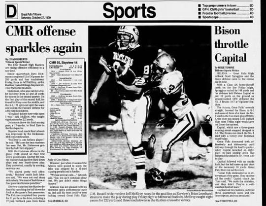 Great Falls High defeated Helena Capital 10-7 in 1990.