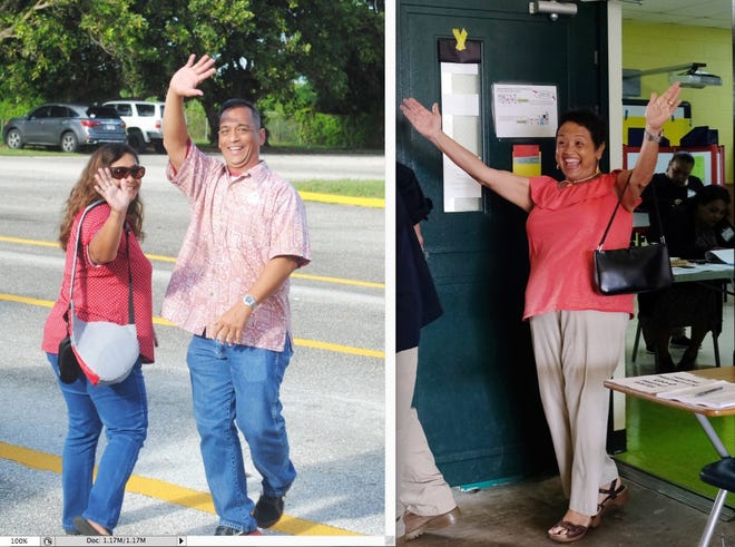 Sen. Frank Aguon Jr., left, with his wife and Lou Leon Guerrero are shown in separate photos after voting in Saturday's Primary Election.