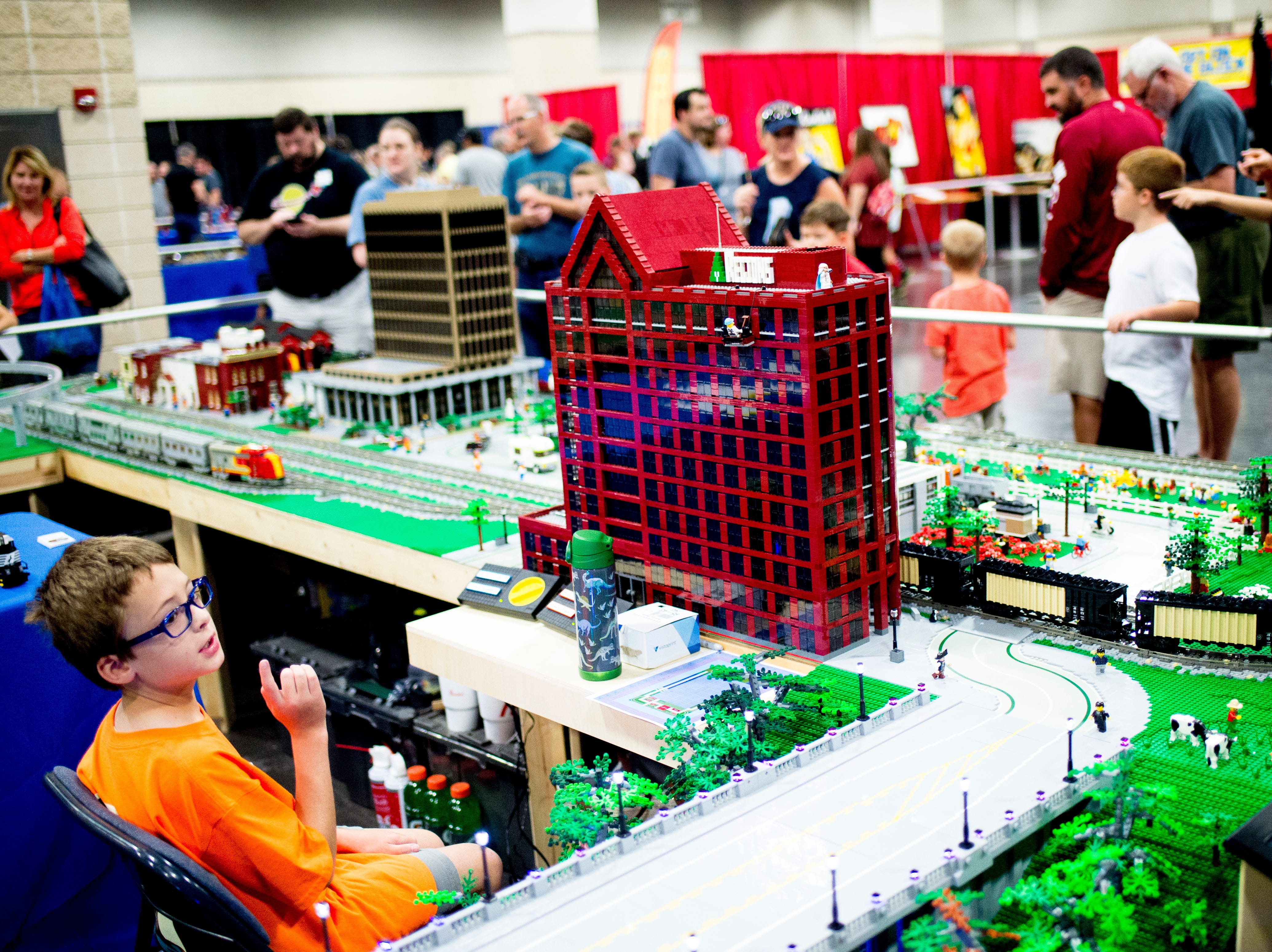 The Lego city display at the BrickUniverse Knoxville LEGO Fan Expo in the Knoxville Convention Center in Knoxville, Tennessee on Saturday, August 25, 2018. Life-sized LEGO displays, over 40 world landmarks build to-scale from LEGO as well as castles, trains, and cities and other creations were on display.