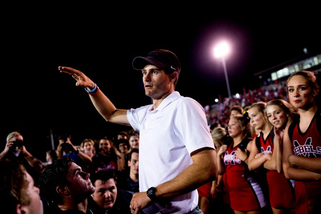 Maryville Head Coach Derek Hunt speaks during the huddle after the game during a football game between Maryville and Oakland at Maryville High School in Maryville, Tennessee on Friday, August 24, 2018.