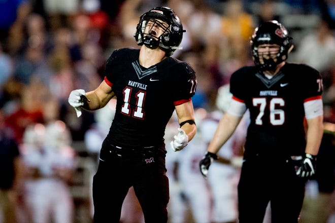 Maryville's Spencer Shore (11) reacts after taking down Oakland's Justin Jefferson (6) during a football game between Maryville and Oakland at Maryville High School in Maryville, Tennessee on Friday, August 24, 2018.