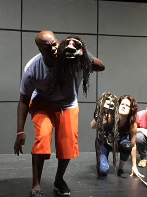 """Kenneth Herring and Carolyn Corley perform a scene from """"Lockdown."""""""