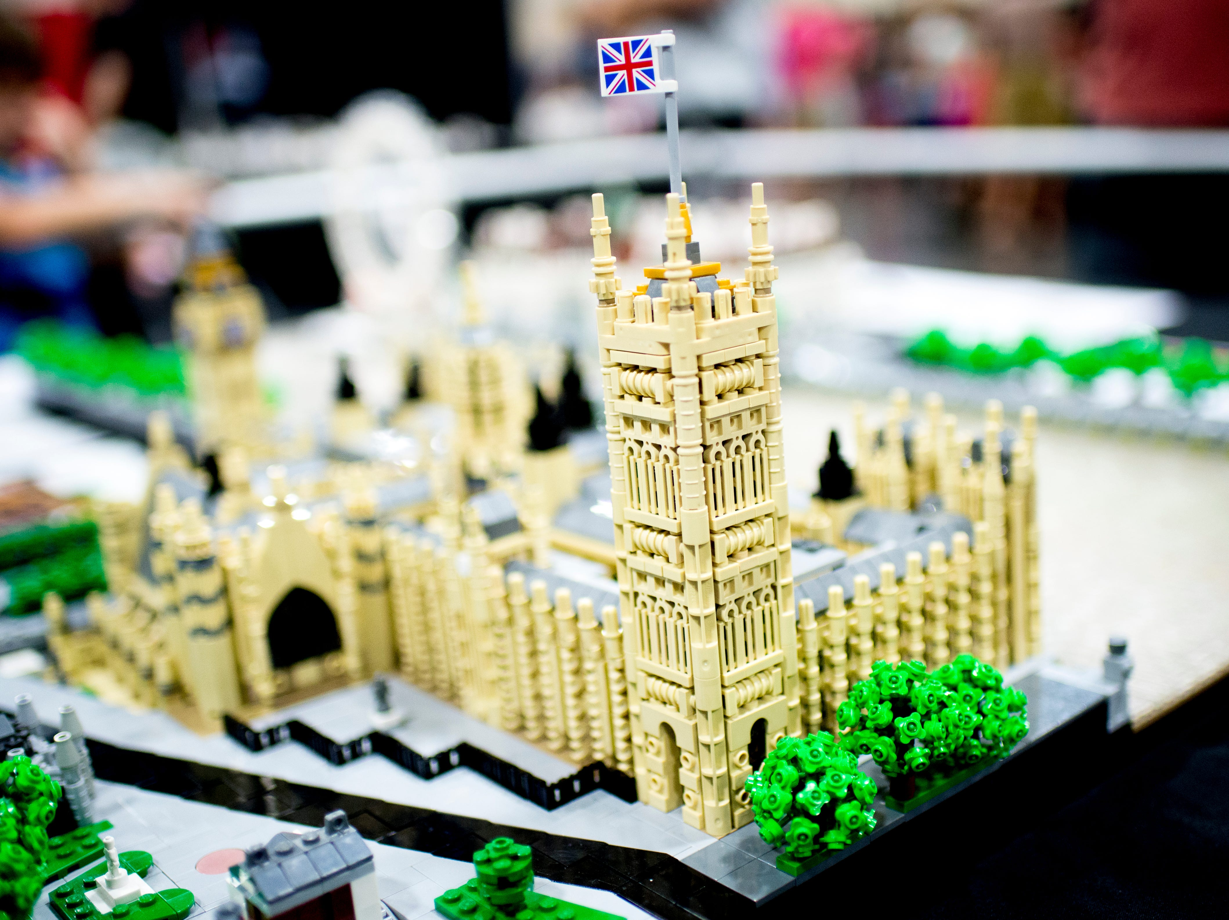 The Palace of Westminster is displayed at the BrickUniverse Knoxville LEGO Fan Expo in the Knoxville Convention Center in Knoxville, Tennessee on Saturday, August 25, 2018. Life-sized LEGO displays, over 40 world landmarks build to-scale from LEGO as well as castles, trains, and cities and other creations were on display.